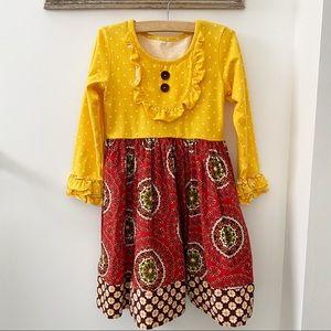 Eleanor Rose Rhonda Red Yellow Long Sleeve Dress